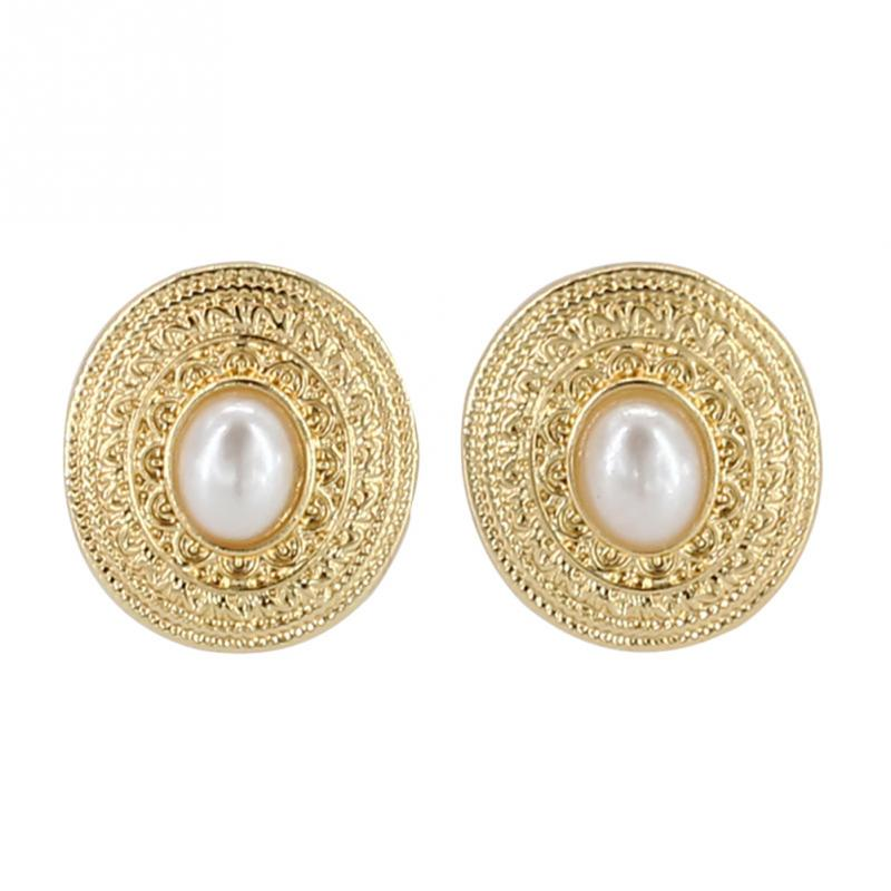 New 1Pair Fashionable Round Shape Ear Stud with Faux Pearl Decoration Women Lady Jewelry