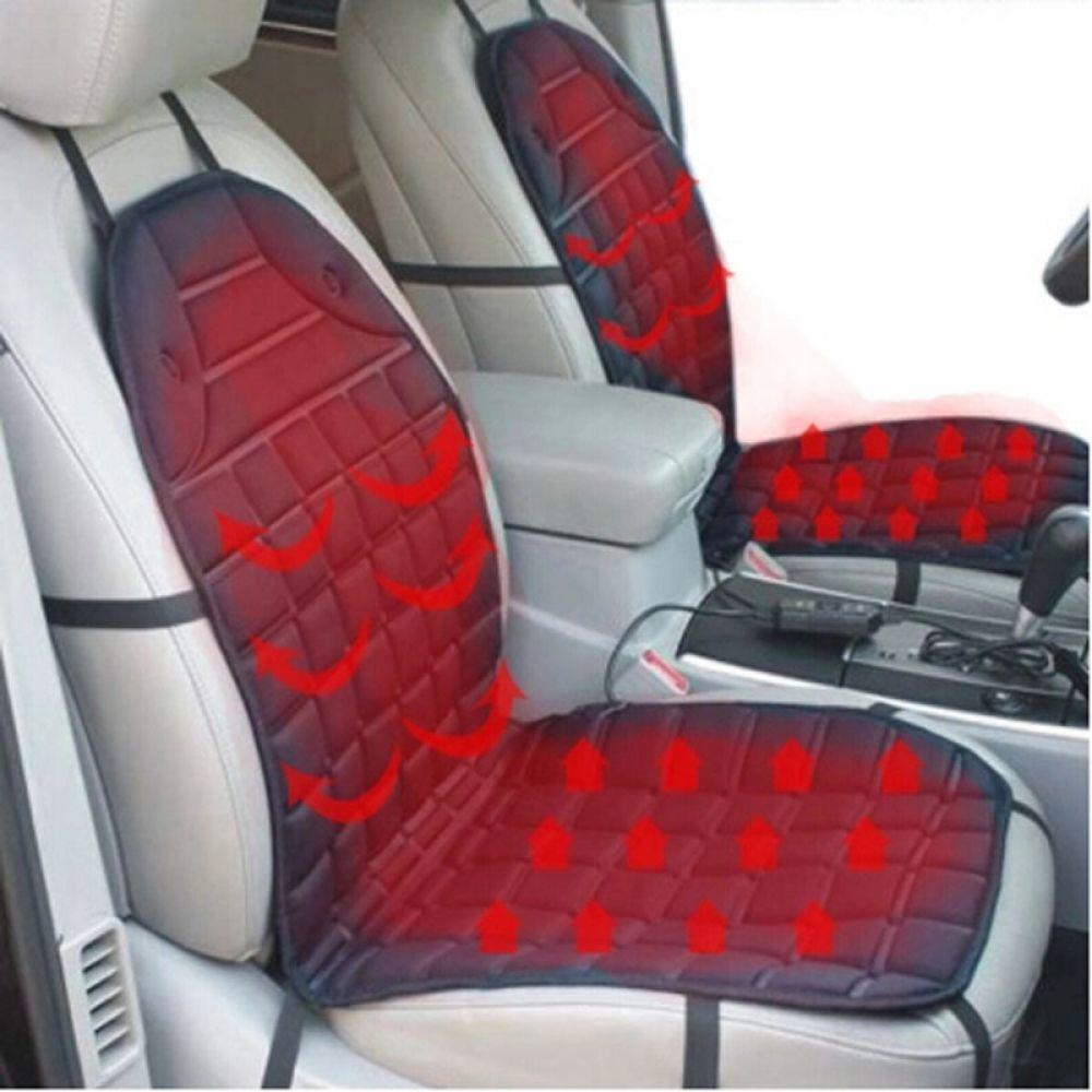 2PCS 12V Heated Car Seat Cushion Cover Seat Heater Warmer Winter Household Cushion Cardriver Heated Deat Car Covers Seat Cover pillowcase classic style wave pattern car comfy back cushion cover