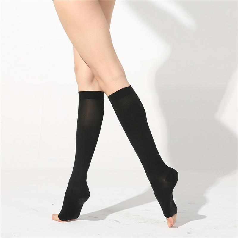 Open Toe Compression Knee High Anti-Fatigue Sock Calf Support Stocking 1Pair