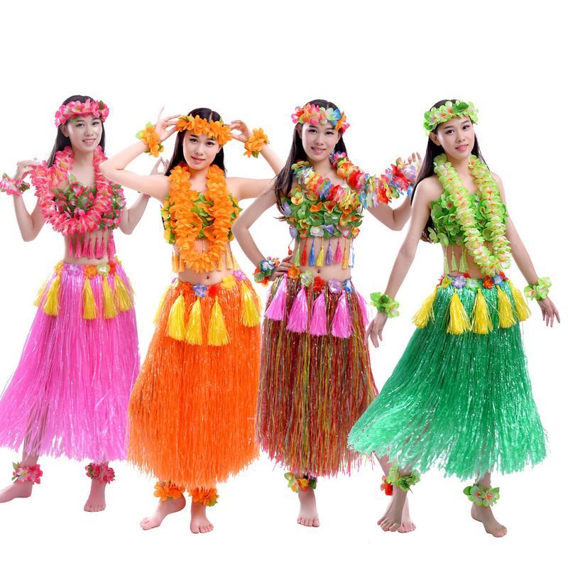8 Uds. De fibras plásticas mujer falda hawaiana Hula disfraz de hierba flor falda baile Hula vestido fiesta Hawaii playa 60-93cm