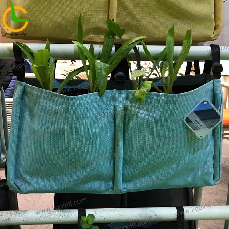 Meilleure vente décoration bleu suspendus tissu légume jardinage fleur planteur pot