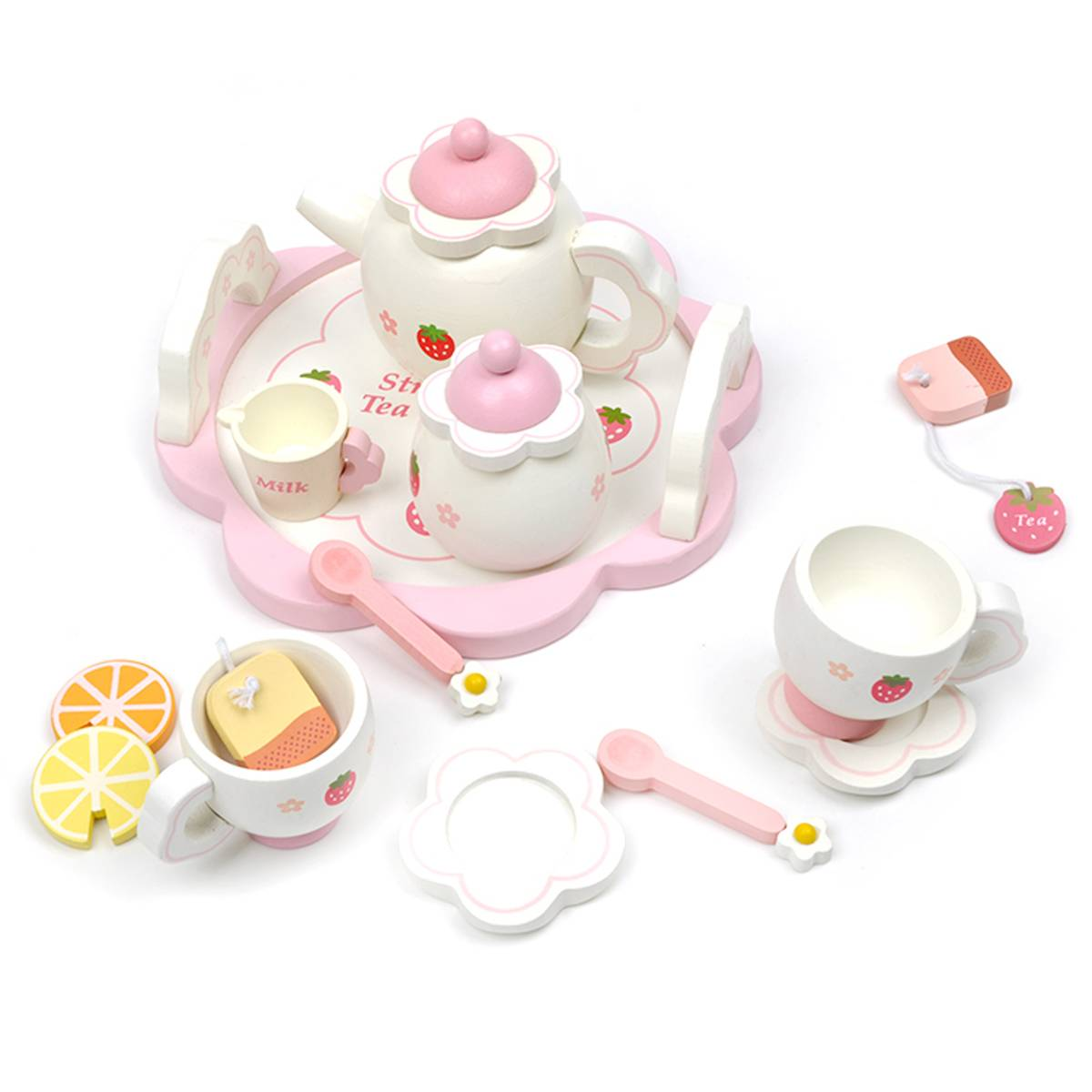 Wooden Tea Set Children/'s Tea Party Plates Mugs Cup Kids Play Toy Birthday Gift