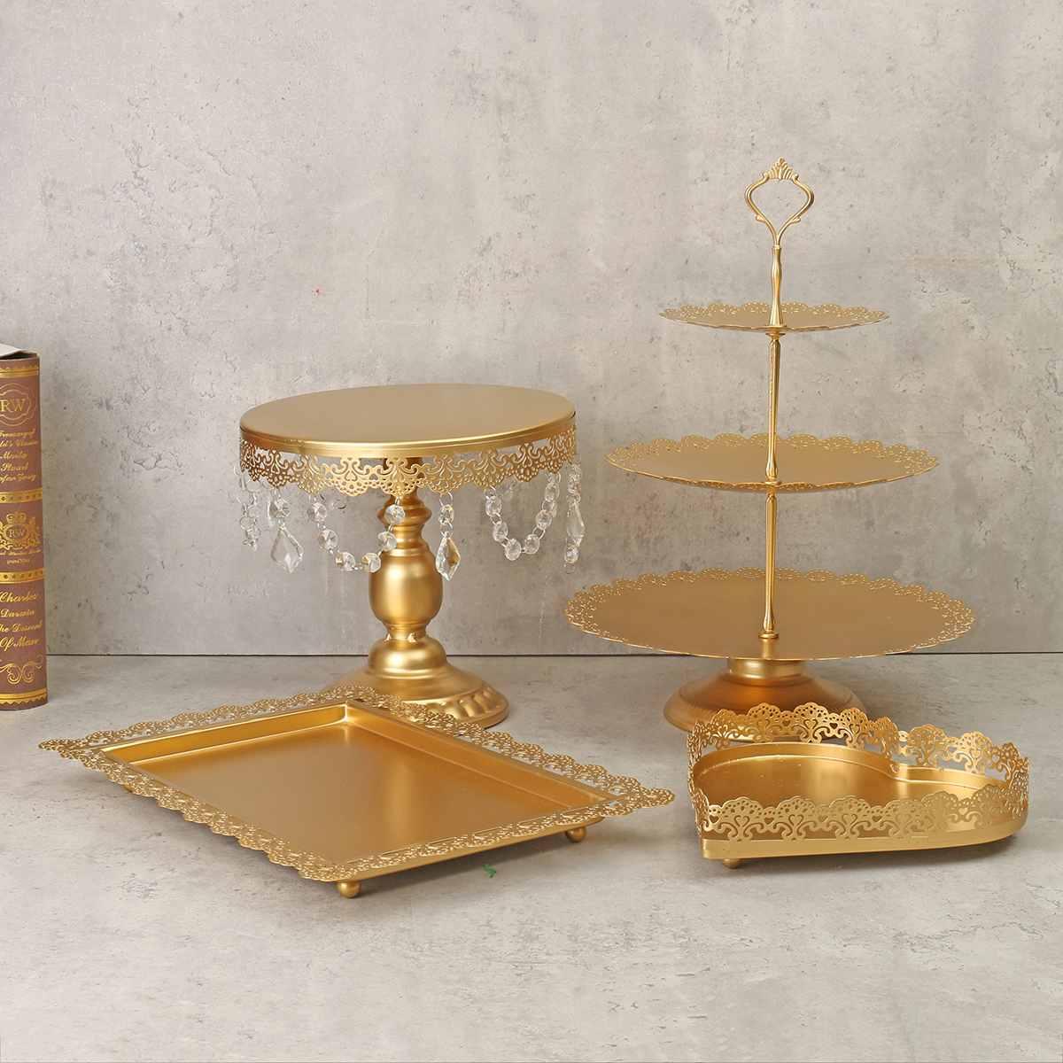 4 pièces/ensemble cristal métal gâteau Stand titulaire Cupcake servant présentoir fête d'anniversaire mariage décoration or/blanc