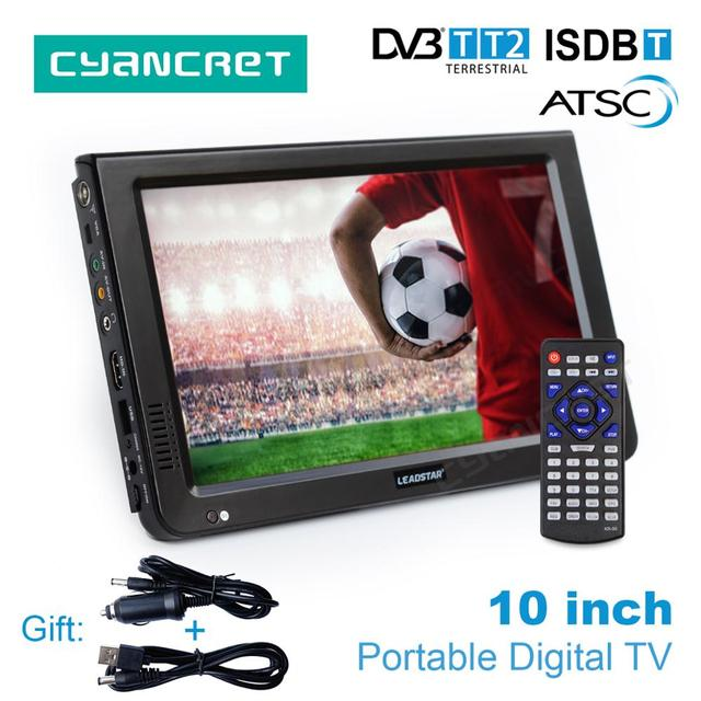 Best Price LEADSTAR 10 inch HD Portable TV DVB-T2 ATSC ISDB-T Digital and Analog mini small Car Television Support USB SD Card MP4 AC3