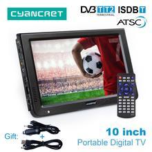 LEADSTAR 10 дюймов HD Портативный ТВ DVB-T2 ATSC ISDB-T тдт цифровых и аналоговых мини маленький автомобиль телевидения Поддержка USB SD карты MP4 AC3