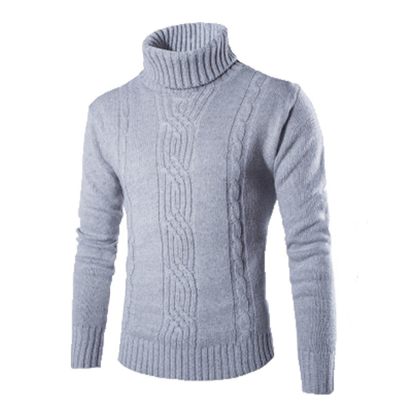 Autumn Winter Men's Turtleneck Sweater Solid Wool Warm Full Sleeve Fashion Slim Pullover New High Collar Sweaters Hot Sale
