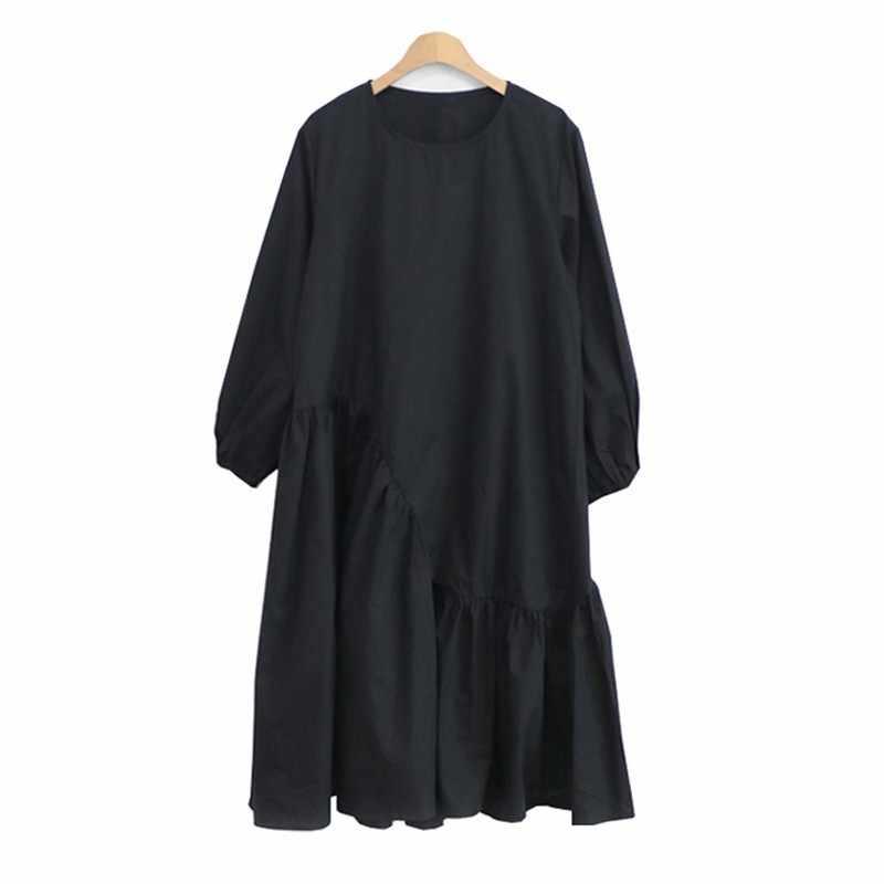 CHICEVER Vestiti di Autunno della Molla Per Le Donne O Collo Del Manicotto di Soffio Allentato Patchwork Nero Vestito Femminile Vestiti di Moda Oversize Nuovo 2019