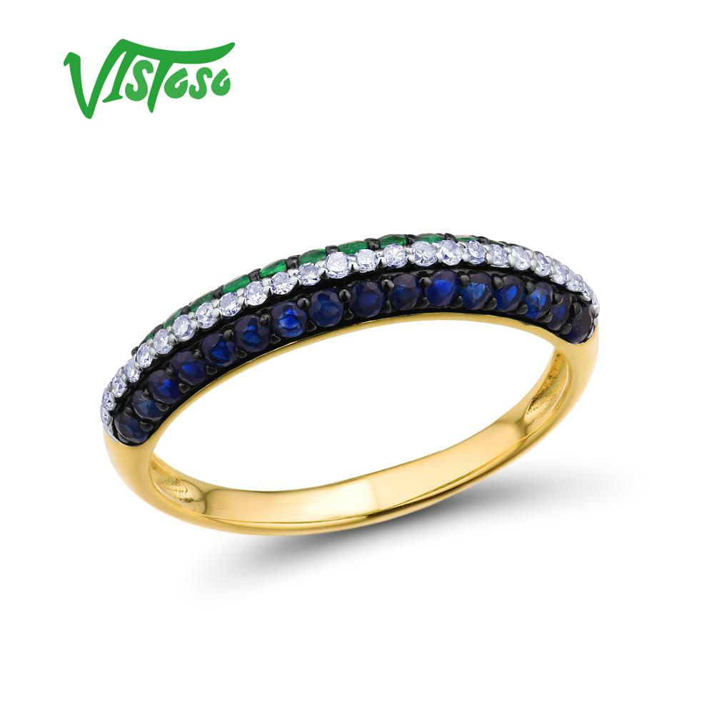 VISTOSO Gold Rings For Women Genuine 14K 585 Yellow Gold Ring Sparkling Blue Sapphire Magic Emerald