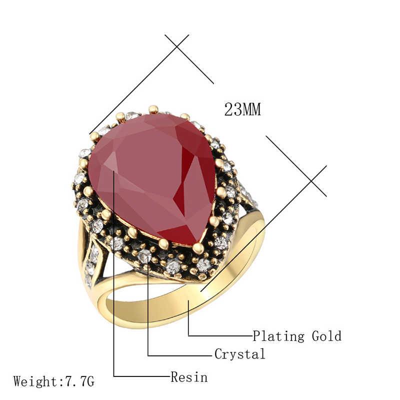 คริสตัลคริสตัลตุรกีเครื่องประดับโมเสคทองโบราณ Zircon ใหญ่สีดำสีแดงสีเขียวหิน Boho เจ้าสาว 1PC แหวน