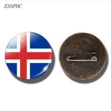 France Italy Spain Poland Netherlands Russia Ireland Country Flag Brooch Europe National Badge Pin Glass Cabochon Brooches