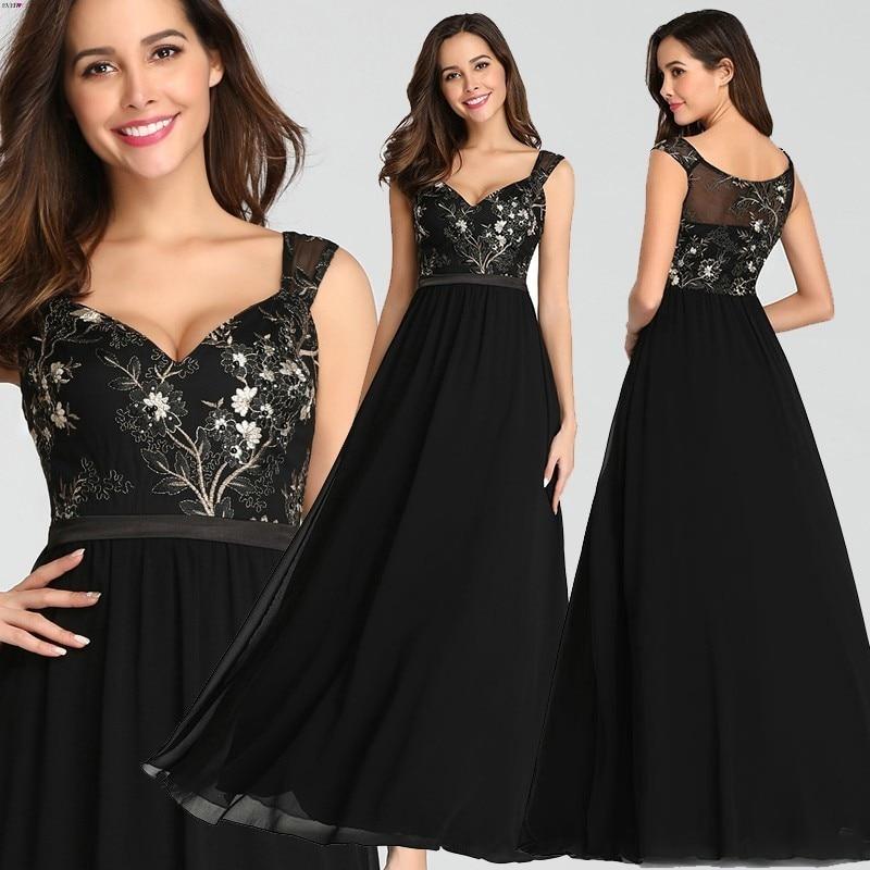Винтажные аппликации черные вечерние платья Длинные Ever Pretty EZ07783BK сексуальные v-образный вырез без рукавов Спагетти ремень официальные плат...