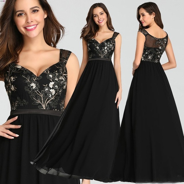 בציר אפליקציות שחור ערב שמלות ארוך פעם די EZ07783BK סקסי צווארון V שרוולים ספגטי רצועת פורמליות שמלות 2020