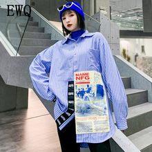 e46d8ade414b [EWQ] 2019 Primavera Nova Mulher Collar Praça Manga Comprida Irregular  Stripe Splice Carta Solta Camisa Tamanho Grande Feminino .