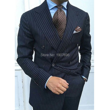 Navy Blue Pinstripe Wedding Men Suits Slim Fit Double Breasted Formal Groom Tuxedos for Prom 2 Piece Jacket Pants Suit Blazer