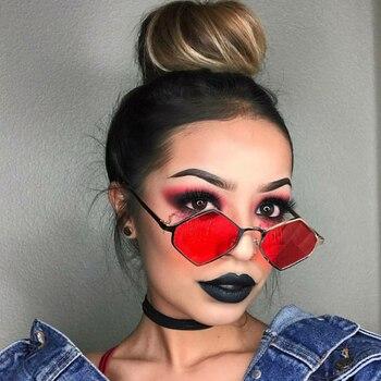 Moda Elmas Güneş Gözlüğü Kadın Vintage Altıgen Metal Çerçeve güneş gözlüğü Kadın Için Kırmızı Sarı Lens Gölge UV400 oculos de sol