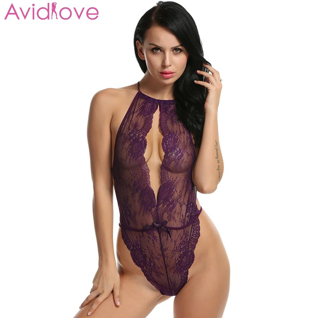 Avidlove Sexy Lingerie Sleepwear Bodysuit Lace Bow Women Sexy Lingerie Babydoll G String Open Crotch Leotard Teddy Sleepwear(China)