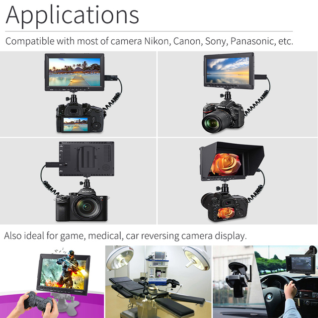 7 pouces moniteur de terrain 4K HDMI caméra DSLR moniteur LCD IPS HD 1280x800 assistance vidéo externe pour appareils photo Nikon Sony Canon cardan