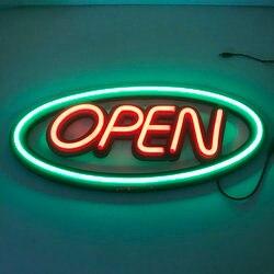 Outdoor schließen offenen logo neon schlauch zeichen beleuchtung