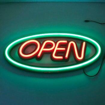 Letrero abierto de interior, tubo de neón, iluminación de señal abierta