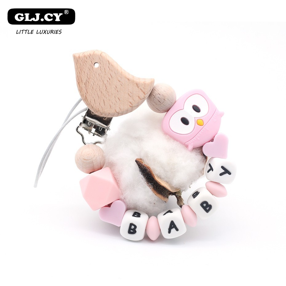 Handmade New Wooden Bird Clips DIY Baby Pacifier Personalised Chain Holder Customizable Name Cute Owl Silicone Beads Gift