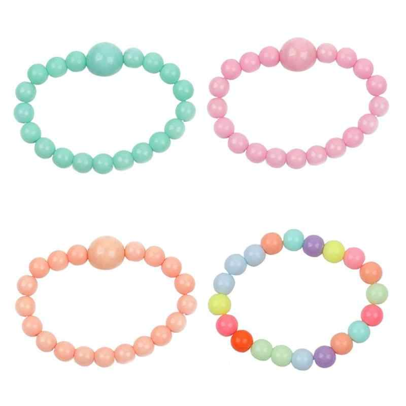 Kids Candy Color Bracelets Cute Round Beads Children Stretch Jewelry Gift