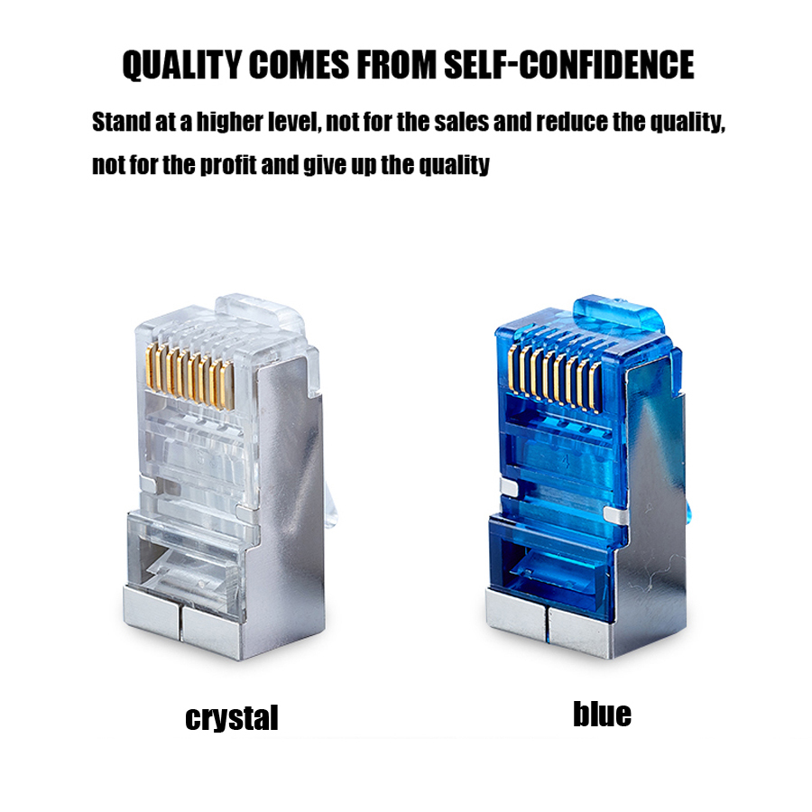 Image 4 - xintylink blue rj45 connector cat6 rj 45 ethernet cable plug 8P8C cat 6 metal shielded network stp modular keystone jack 50pcs-in Computer Cables & Connectors from Computer & Office