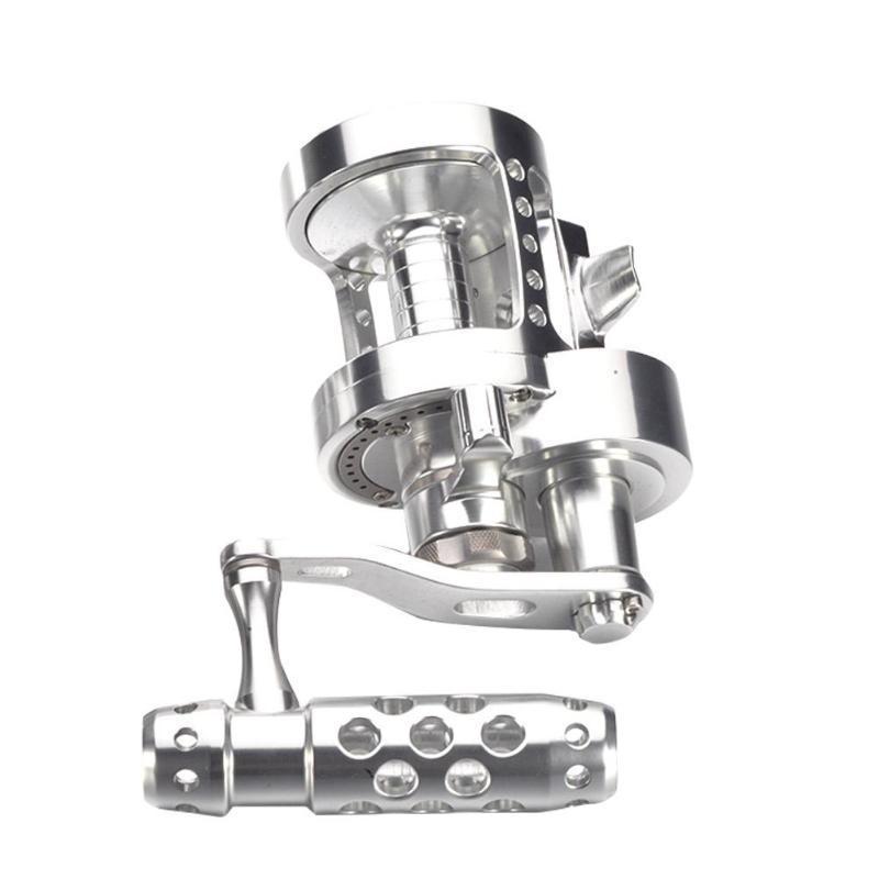 Moulinet de pêche à la traîne Double frein 7BB + 1 4.5: 1 moulinet de pêche à la main gauche/droite pour pêche en mer pesca acesorios