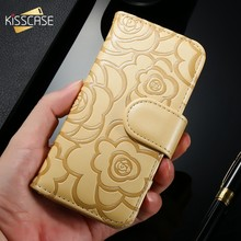 KISSCASE Rose PU Leather Flip girly portemonnee Voor iPhone 6 6s Plus 5 5S SE bloem camelia telefoon case Luxe Girly Telefoon Cover Coque(China)