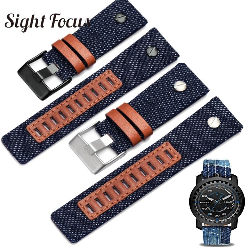 Denim Blue Canvas Watchband for Diesel dz7313 Watch strap 24mm Navy Men Watch Band Watch Belts Bracelet Rivet Strap Tang Buckle