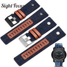 Denim Blue Canvas Watchband for Diesel dz7313 Watch strap 24