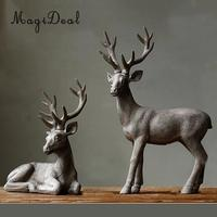 MagiDeal Home Tabletop Stand or Seated on Table Deer Elk with Large Antlers Ornament Room Decor Shelf Display