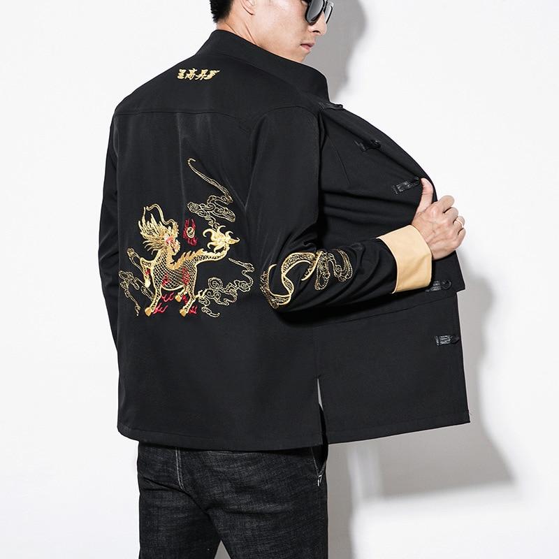 Style Vintage Mâle Hommes Vêtements Streetwear 4337 Broderie Mandarin 5xl Vestes Black Chinois Taille Manteau Col Printemps Grande Dragon 6gwOqpIwx