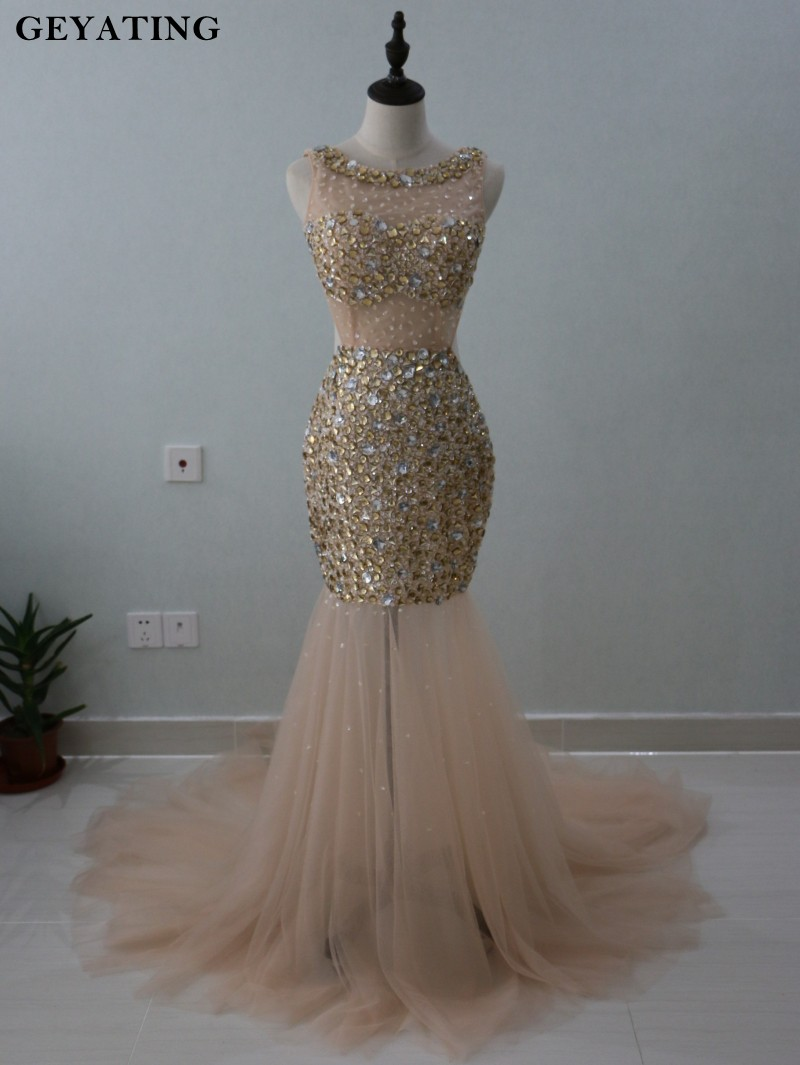 Champagne Mermaid   Prom     Dresses   2019 Luxury Full Gold Crystal Beaded Backless Long Evening   Dress   Formal Party Pageant   Dresses