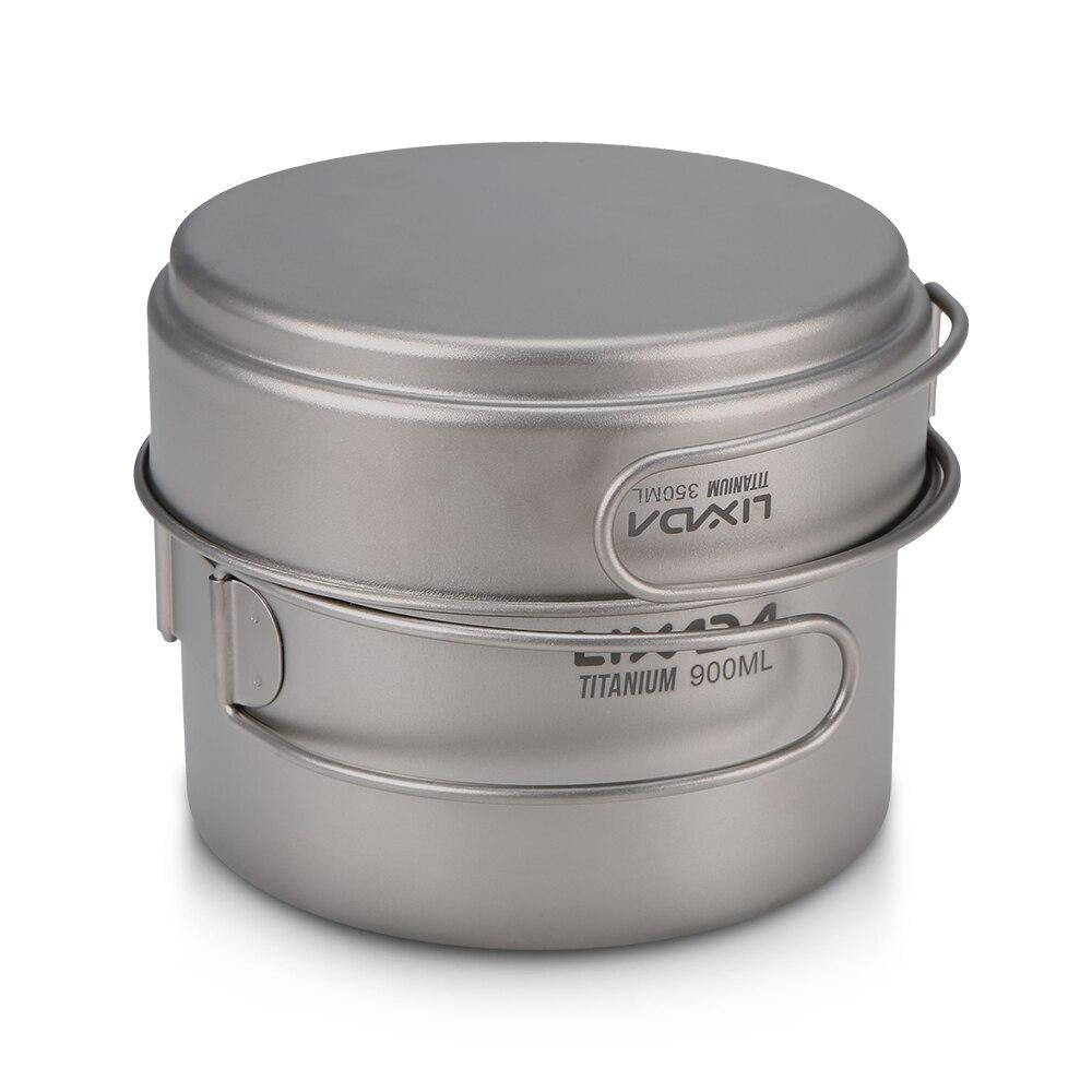 Lightweight Titanium Camping Cookware Outdoor Camping Cookware Set 900ml Pot 350ml Fry Pan with Folding Handle