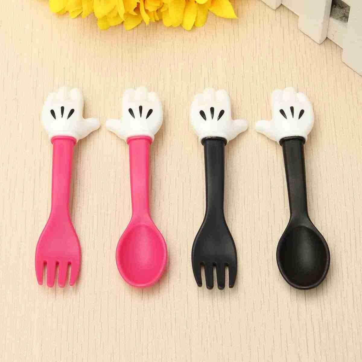 2 цвета, портативная детская изящная вилка, ложка, мышь, столовые приборы, детская кормушка, посуда для малышей, столовая посуда, посуда