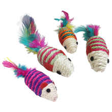 Toy knitted Mouse Scratching post for Cat Multicolored red legged mouse pet cat toy multicolored