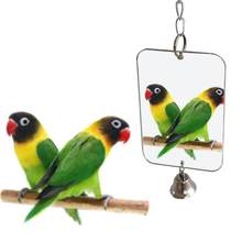 Parrot Bell Toys Pet Bird Mirror Fun Toys Birdcage Accessories Heart Shaped Round Rectangle Optional With Bell In Random Color(China)