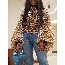 Hipster Casual Plus Size OL Lady Sexy Club Women Blouses Hip Hop Punk Elegant Lantern Sleeve Slim Leopard Female Tops Shirts