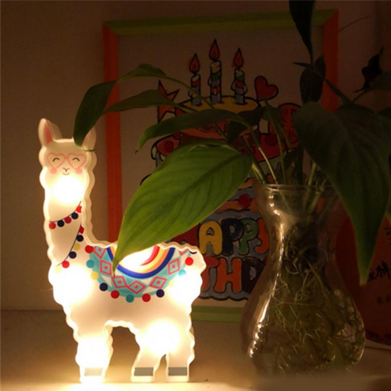Image 4 - 6 leds Night Lamp Hanging Desktop Battery Powered Cute Light Gift Bedside Path Alpaca Shape Decorative dragon animal style-in LED Night Lights from Lights & Lighting