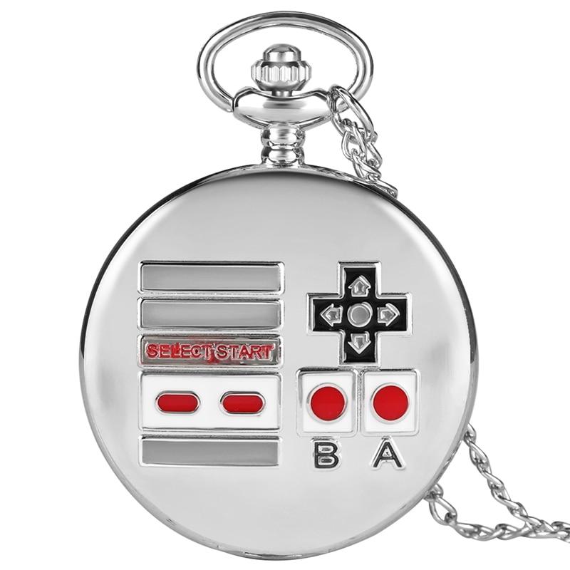 Creative Gamepad Theme Quartz Pocket Watch Silver Retro Necklace Pendant Watch Gifts For Men Women  Kids Game Fans Collectibles