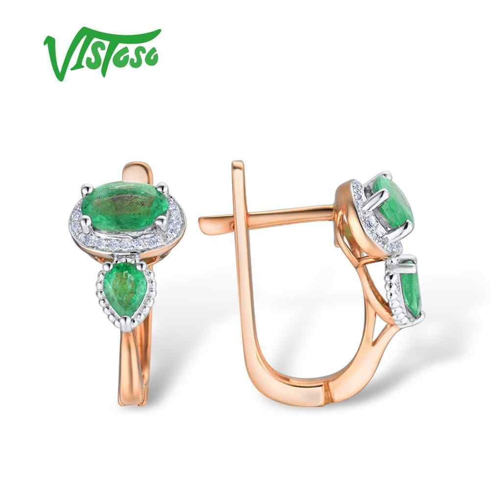 1292eb4a27bc ... VISTOSO Gold Earrings For Women 14K 585 Rose Gold Glamorous Elegant  Shiny Emerald Sparkling Diamond Luxury ...