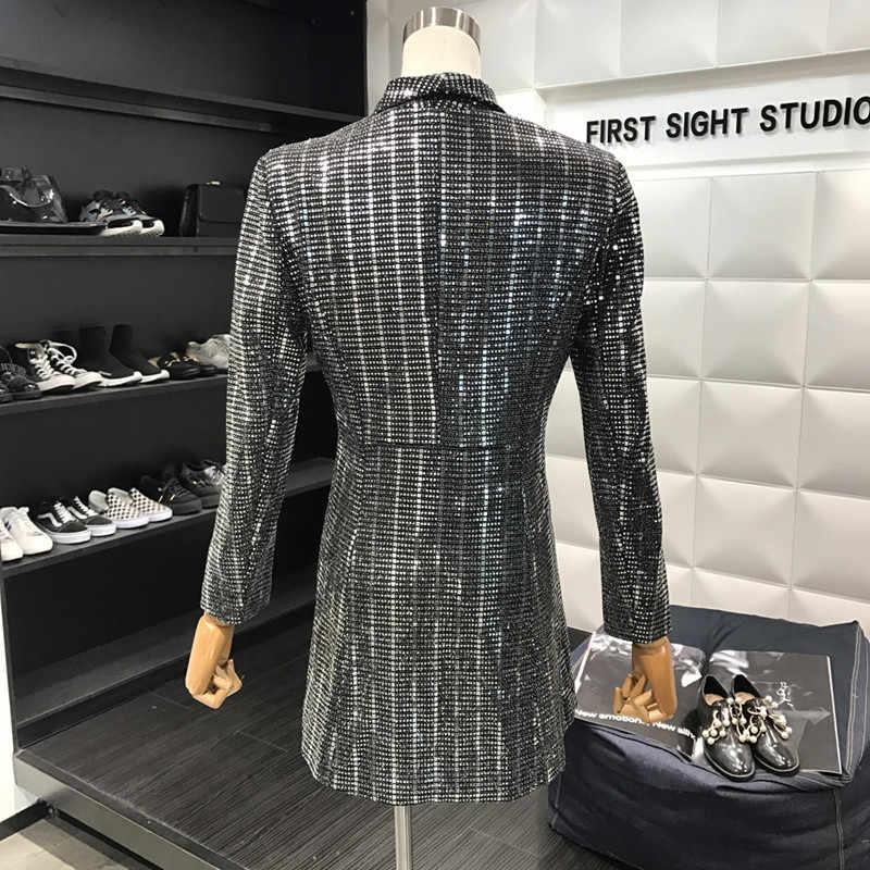 ... New Fashion 2018 Designer Blazer Women Long Sleeve Bling Sequined Long  Blazer Overcoat cc0acadf821b