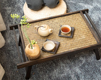 Thai Asian Style Furniture Southeast Home Bamboo Wooden Tray Table For Breakfast Bed Serving Tray Foldable Legs Living Room