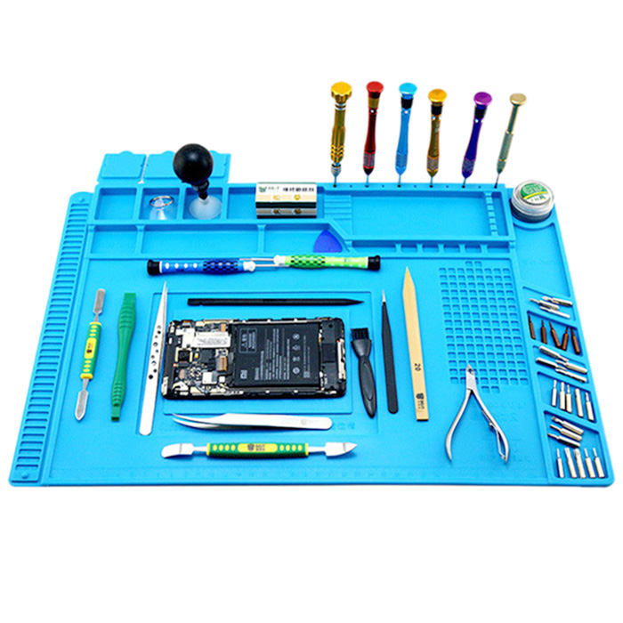 34x23cm Magnetic Heat Insulation Silicone Pad Desk Mat Maintenance Platform With Magnetic Section For BGA Soldering Repair Work