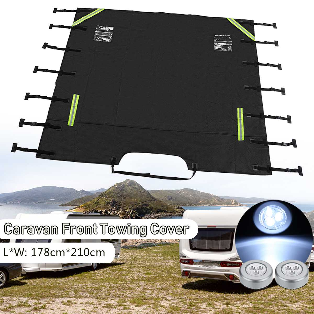 Universal Caravan Front Towing Cover Protector for RV Motorhome 2 LED Lights