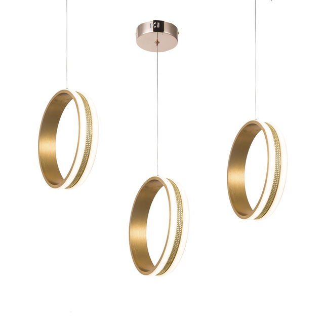 Circle Rings LED Pendant Light Loft Coffee lamp Bedroom hanging Lighting Crystal chandelier ceiling Ring led indoor lighting
