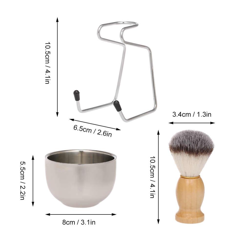 Ferramenta barbeiro de Barbear Masculino de Barbear Conjunto De Barbear Escova de Sabão + Tigela + Base do Suporte Kit de Limpeza Facial Cabelo Barba Barbeador Masculino