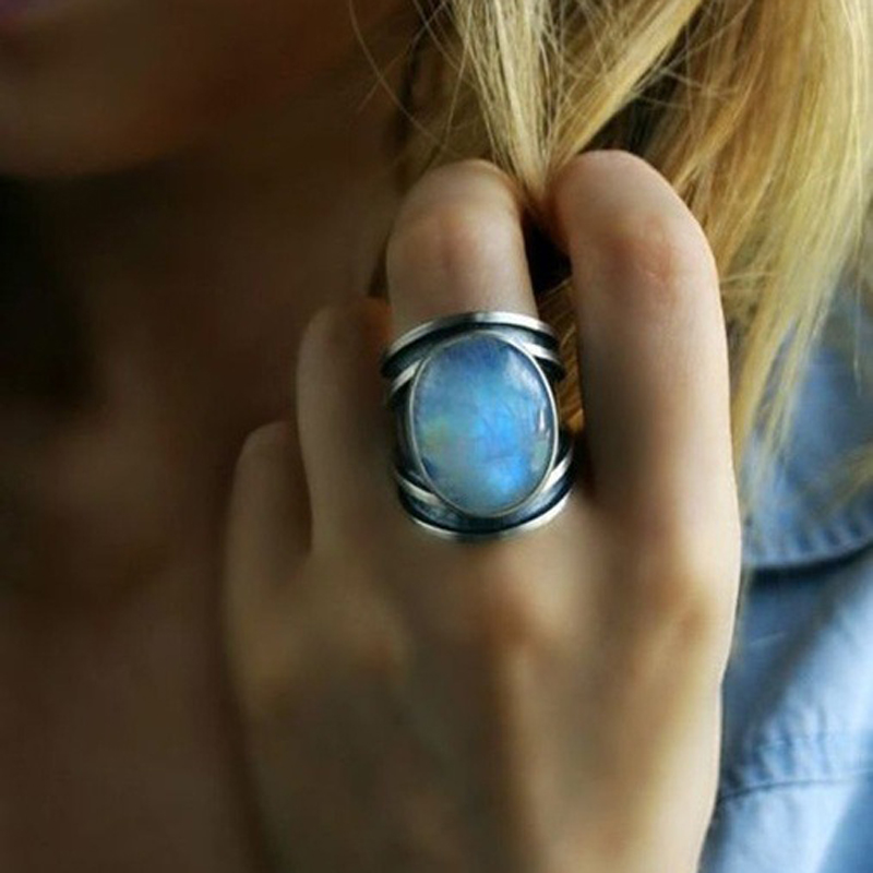 Vintage Big Moonstone Ring Silver Wedding Rings For Women ...