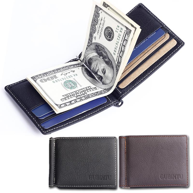 Ultra Thin Men Wallet Casual Male Bi-Fold Cowhide Wallet Leather Purse With Money Clip Men Leather Brand Luxury Wallet