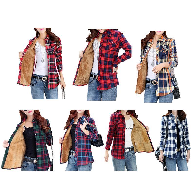Classic British Plaid Slim Lining Plus Velvet Commuter Warm Shirt Lapel Single-Breasted Irregularly M-2xl Spring Autumn Winter